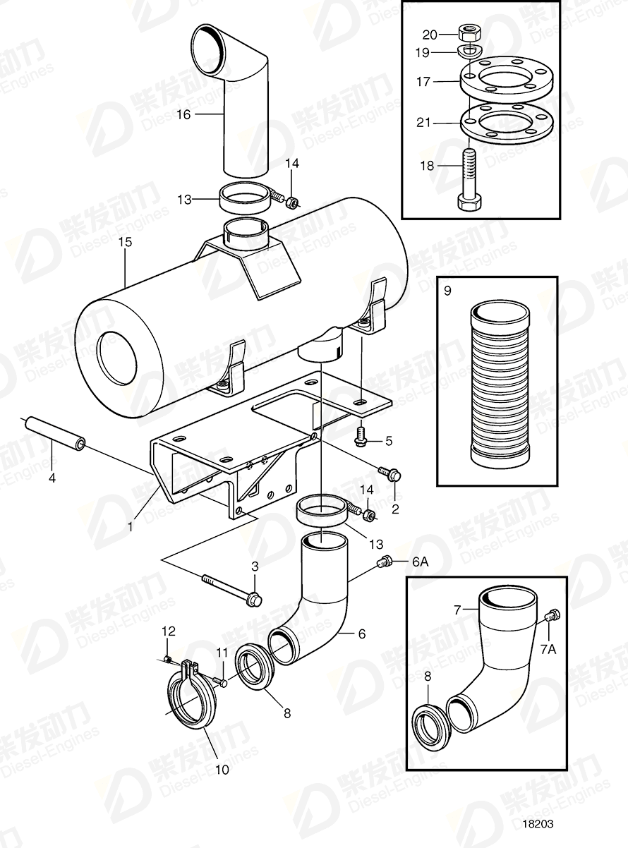 Volvo 3826894 Exhaust pipe elbow 3826894 Intake and Exhaust System